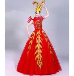 Women red with gold Spanish bull dance dresses opening dance chorus stage performance big skirted dress