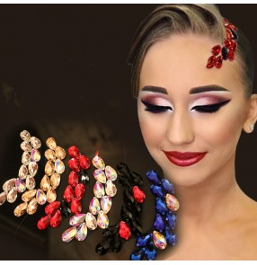 Women rhinestones competition ballroom waltz dance headdress stage performance hair accessories