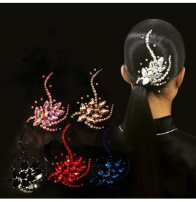 Women rhinestones competition dance headdress stage performance ballroom waltz tango dancing hair accessories