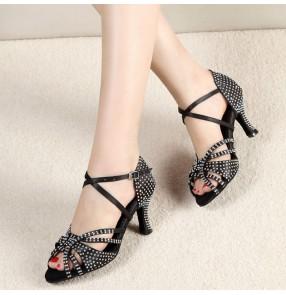Women rhinestones competition gold black ballroom latin dance shoes tango waltz chacha dance shoes