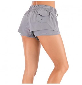 Women Running training sports shorts double layers aerobic exercises yoga fitness pants for female