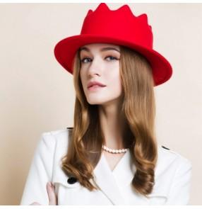 Women's 100% Australian wool red one size fedoras bucket hat one size
