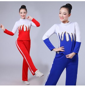 Women's Aerobics outfits exercises cheerleaders group dance sports fitness yoga square dance gogo dancers hiphop stage performance costumes tops and pants