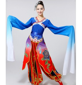 Women's ancient traditional Chinese folk dance dresses water sleeves classical dance clothing for female