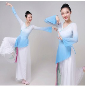 Women's ancient traditional classical dance dresses stage performance girls yangko fan umbrella dance dresses costumes