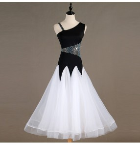 Women's ballroom dance dresses black with white rhinestones children waltz tango dance skirts costumes