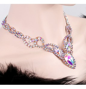 Women's ballroom dance handmade necklace choker waltz tango latin dance stones necklace headdress