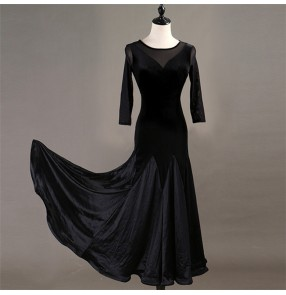 Women's ballroom dancing dresses black velvet long sleeves professional waltz tango dancing skirts dress