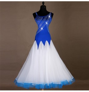 Women's ballroom dancing dresses competition royal blue and white rhinestones professional waltz tango dancing dresses skirts costumes