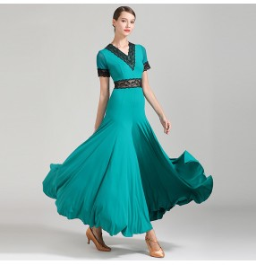 Women's ballroom dancing dresses exercises practice blue red black tango waltz dance dresses