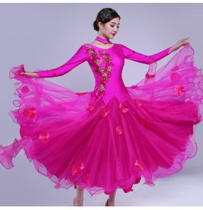 Women's ballroom dancing dresses hot pink red colored flowers tango waltz ballroom dance dresses