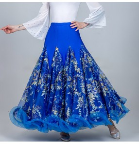 Women's ballroom dancing skirts female lady flowers stage performance modern dance waltz tango dancing skirts