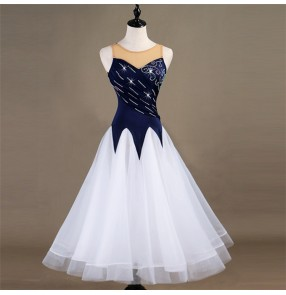 Women's ballroom dresses children competition waltz tango navy rhinestones professional long length skirts dresses
