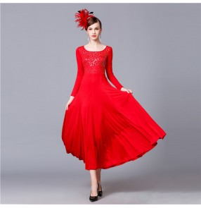 Women's ballroom dresses competition red professional stage performance waltz tango long sleeves dress