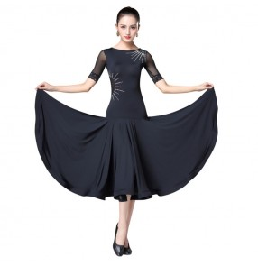 Women's ballroom dresses for female black diamond stage performance competition waltz tango dancing dresses