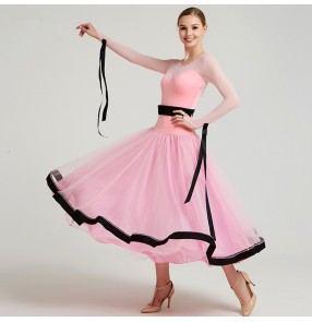 Women's ballroom dresses royal blue pink yellow competition stage performance waltz tango long length professional dress skirts