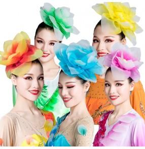Women's ballroom flamenco dance head rose flowers host singers group dancerts modern dance stage performance  head flowers
