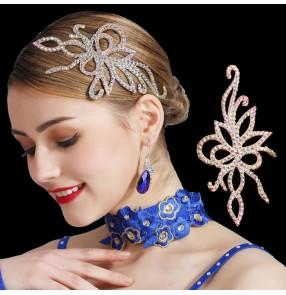 Women's ballroom latin competition dance rhinestones headdresses hair accessories