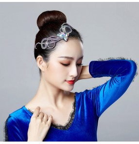 Women's ballroom latin competition stage performance headdress square Chinese folk modern dance diamond head accessories for female girls
