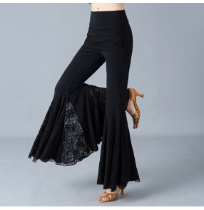 Women's ballroom latin dance flared lace pants stage performance exercises waltz tango salsa chacha dance trousers