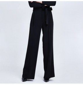Women's ballroom latin dance pants competition stage performance latin salsa rumba chacha long length swing pants trousers