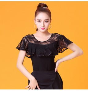 Women's ballroom latin dance tops for female black lace collar competition stage performance blouses