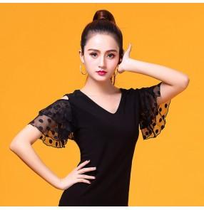 Women's ballroom latin dance tops short sleeves stage performance professional chacha rumba dance shirts tops blouses