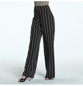 Women's ballroom latin dancing long pants striped stage performance competition professional waltz tango dance trousers