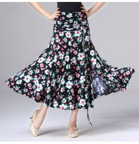 Women's ballroom tango waltz dancing long skirts floral printed competition stage performance long length skirt