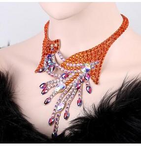 Women's ballroom waltz tango latin dance choker necklace competition stage performance professional diamond crystal necklace choker