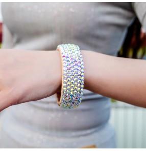 Women's belly latin dance rhinestones bracelet armband photos video shooting stage performance diamond bangles 1pc