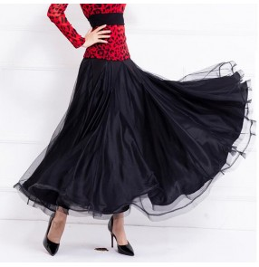 Women's black ballroom dancing skirts flamenco waltz tango dance skirts