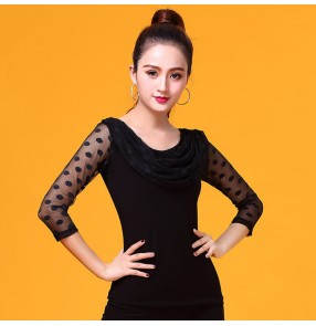 Women's black ballroom dancing tops competition stage performance professional tango waltz chacha dancing blouses