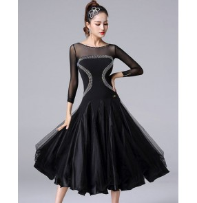 Women's black colored diamond competition professional ballroom dancing dresses waltz tango dance dresses