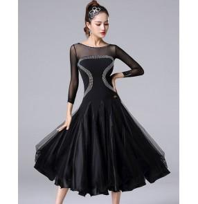 Women's black colored diamond competition professional ballroom dancing dresses waltz tango dance dresses