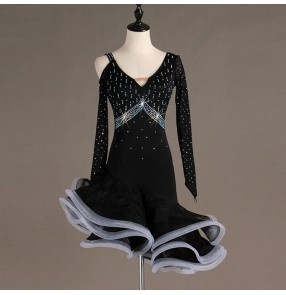 Women's black colored latin dance dresses rhinestones girls stage performance salsa rumba chacha dance skirts costumes dresses