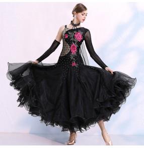 Women's black embroidered flowers diamond competition ballroom dancing dresses one shoulder waltz tango flamenco dresses