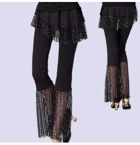 Women's black latin dance skirt pants salsa rumba ballroom square dance flare legs skirt pants
