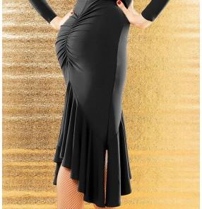Women's black latin skirt ruffles hem side split rhythm salsa chacha dance skirts