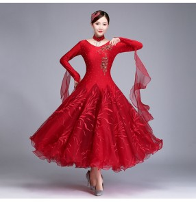 Women's black red ballroom dancing dresses modern dance stage performance professional waltz tango dance dresses