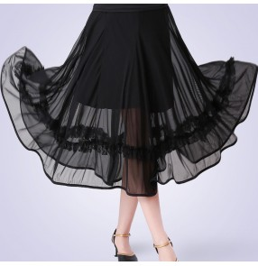 Women's black red ballroom dancing skirts waltz tango dance skirts
