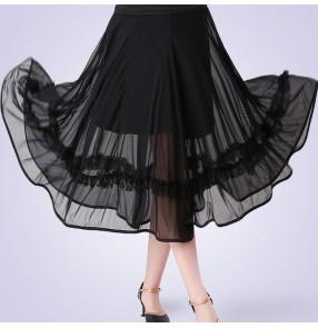 Women's black red ballroom dancing skirts waltz tango dance skirts