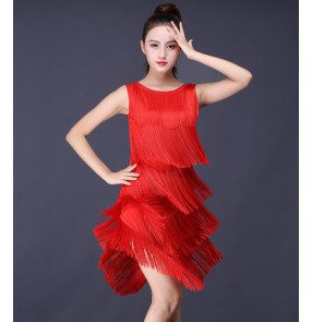 Women's black red colored tassels girls latin dance dresses rumba samba salsa chacha dance dresses