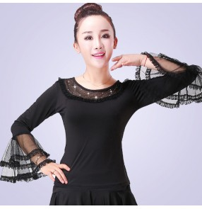 Women's black red flare sleeves latin ballroom dance tops rumba chacha dance tops shirts