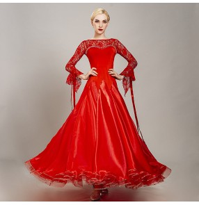 Women's black red lace ballroom dancing dresses waltz tango dance dresses