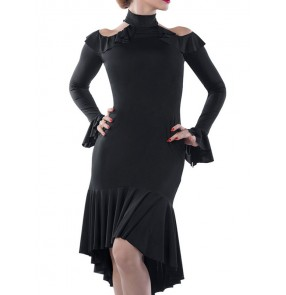 Women's black red Latin dance dresses female adult practice dance salsa dance clothes long-sleeved chacha dance strapless dress with slit