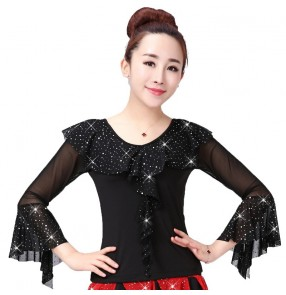Women's black red sequins latin dance tops female ballroom waltz tango dance tops shirts blouses