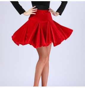 Women's black red velvet latin dance skirts salsa rumba chacha dance skirts for female