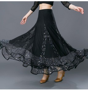 Women's black sequin ballroom dancing skirts stage performance foxtrot waltz tango flamenco dance skirts