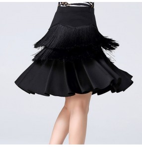 Women's black tassels stage performance latin salsa dance skirts